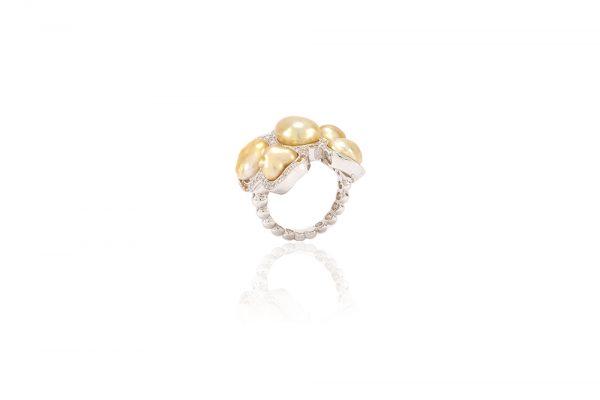 Bague Butterfly - Diamants, saphirs jaunes et Or Blanc 6