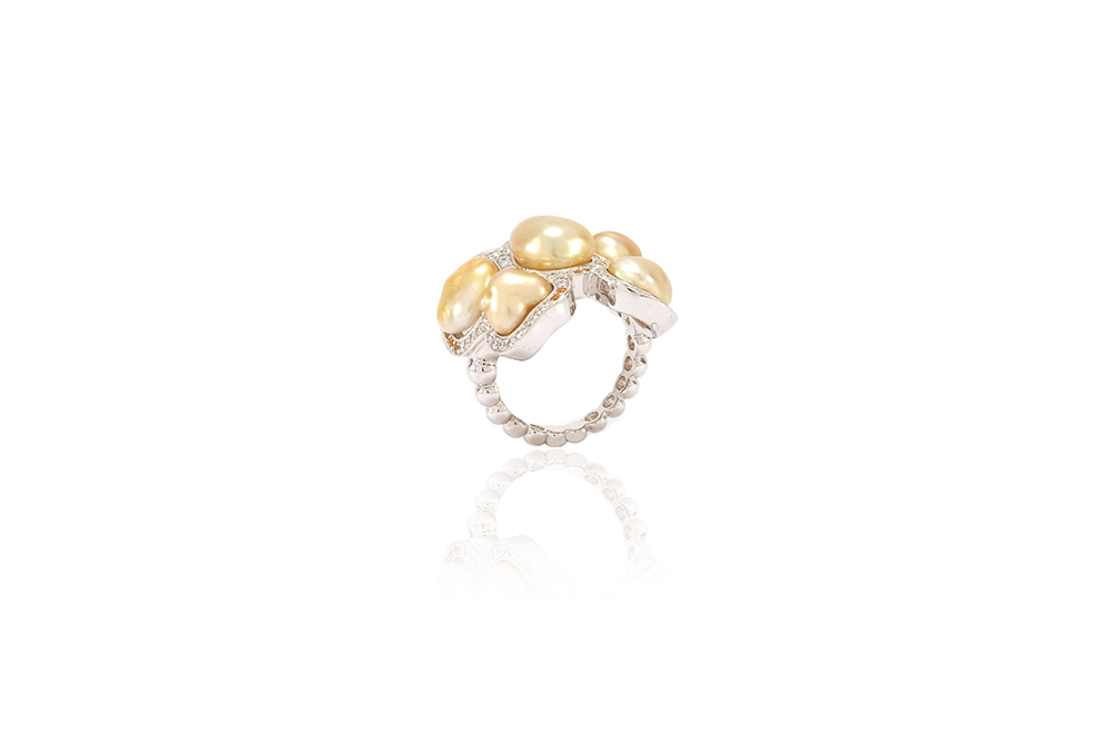 Bague Butterfly - Diamants, saphirs jaunes et Or Blanc 6