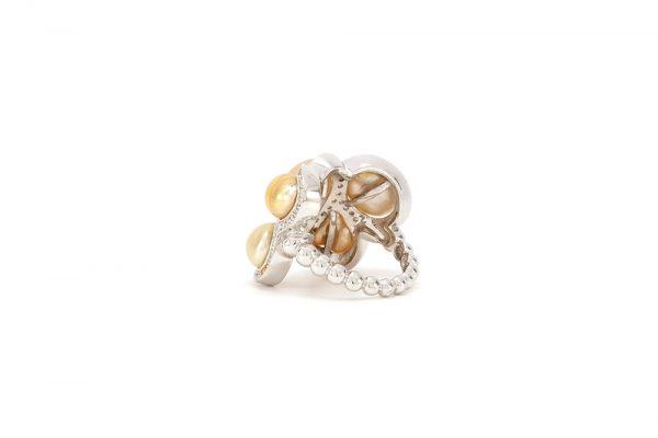 Bague Butterfly - Diamants, saphirs jaunes et Or Blanc 7