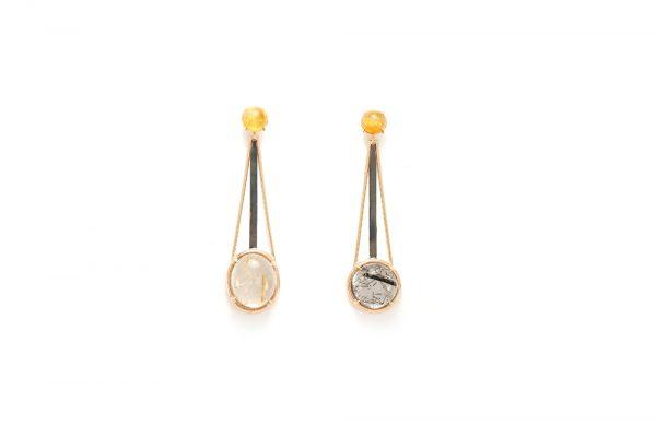Boucle d'oreille Rutille - Quartz Rutille et Or rouge 1