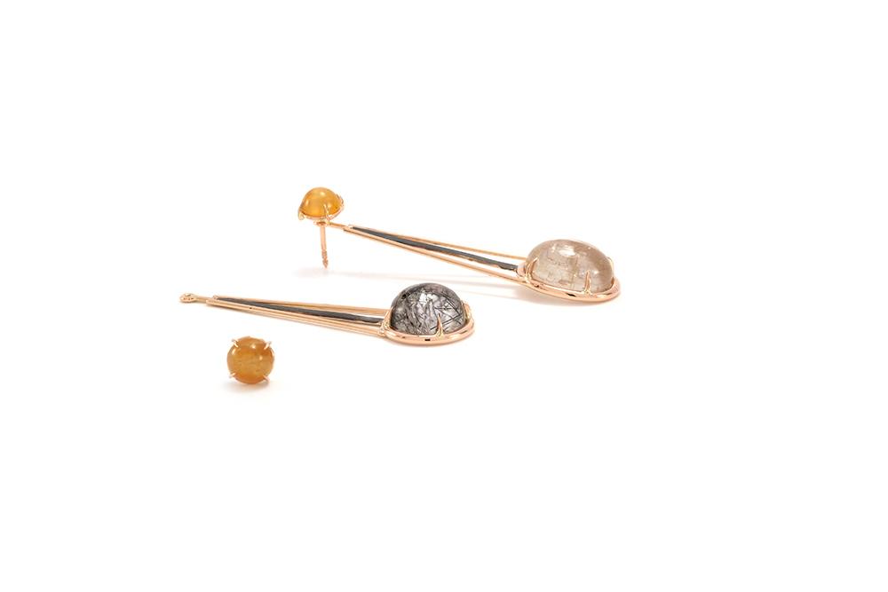 Boucle d'oreille Rutille - Quartz Rutille et Or rouge 2