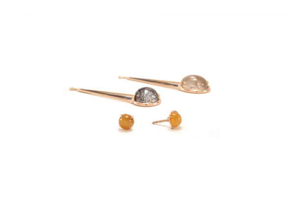 Boucle d'oreille Rutille - Quartz Rutille et Or rouge 3