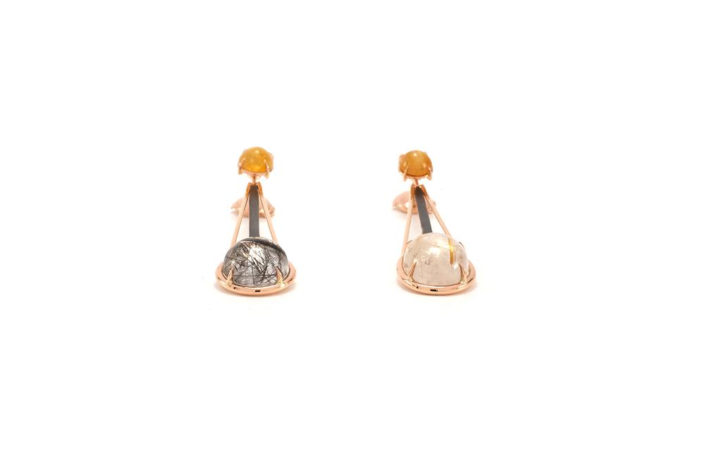 Boucle d'oreille Rutille - Quartz Rutille et Or rouge 5