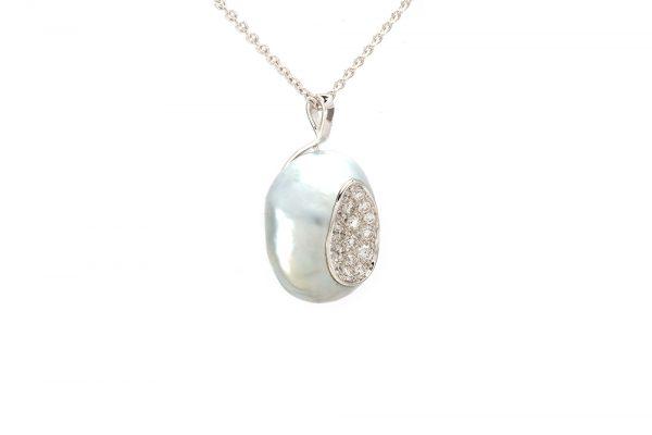 Pendentif Baroque - Perle et Diamants 2