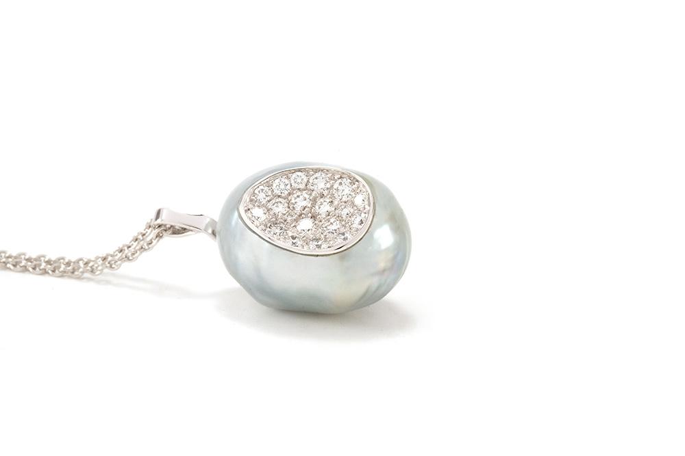 Pendentif Baroque - Perle et Diamants 5