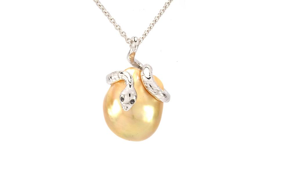 Pendentif Péché - Perle Gold et Or Blanc 1