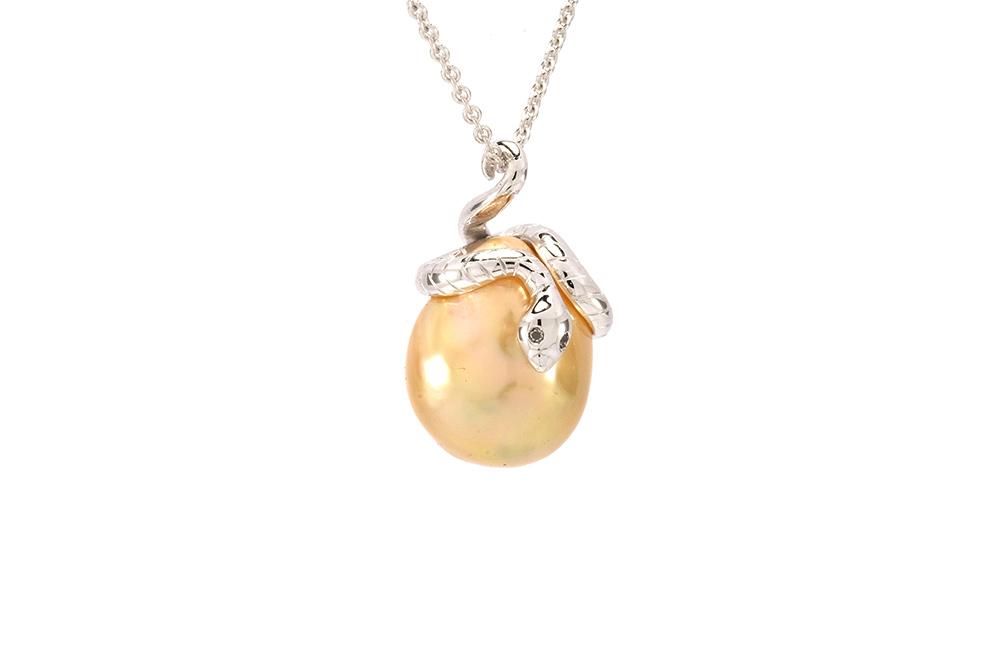 Pendentif Péché - Perle Gold et Or Blanc 2