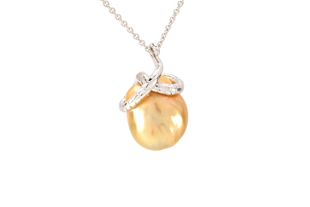 Pendentif Péché - Perle Gold et Or Blanc 3