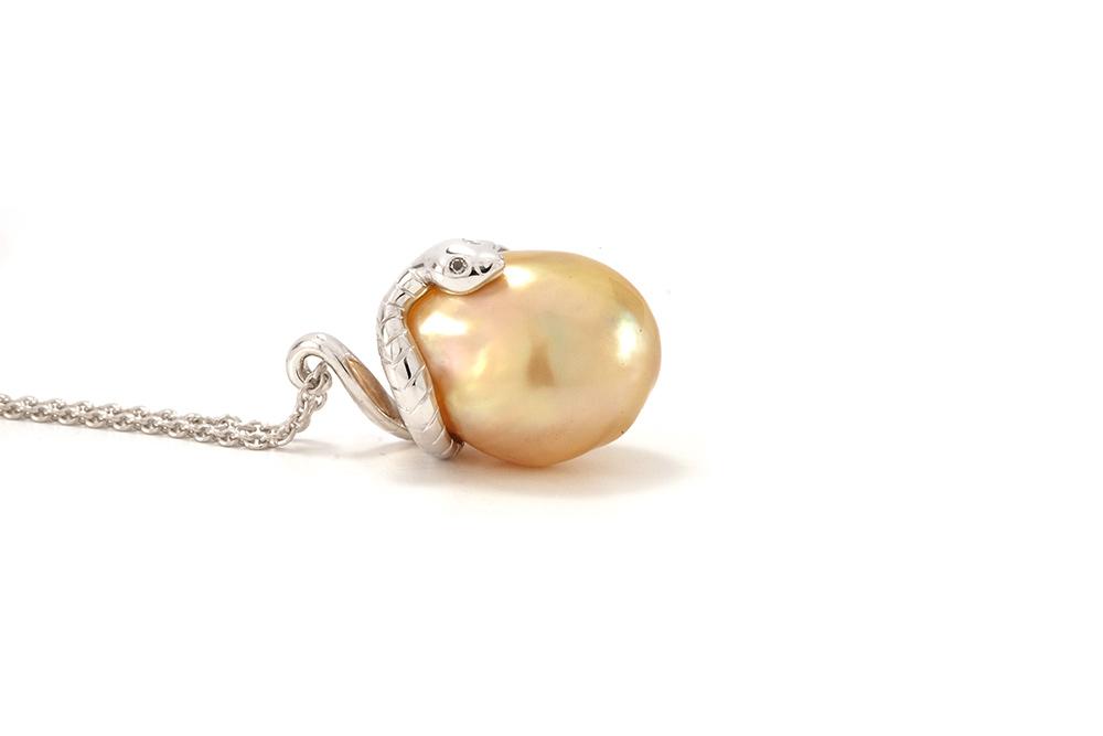 Pendentif Péché - Perle Gold et Or Blanc 4
