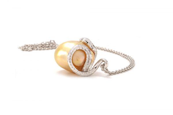 Pendentif Péché - Perle Gold et Or Blanc 5