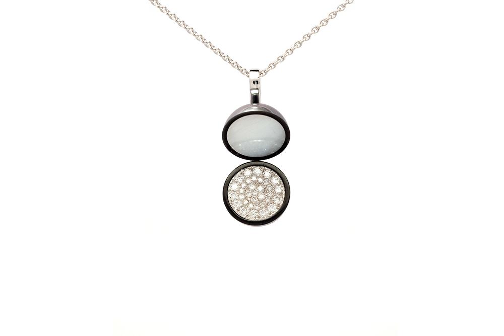 Pendentif Agora - Perle de Tahiti et Diamants sur Or blanc 1