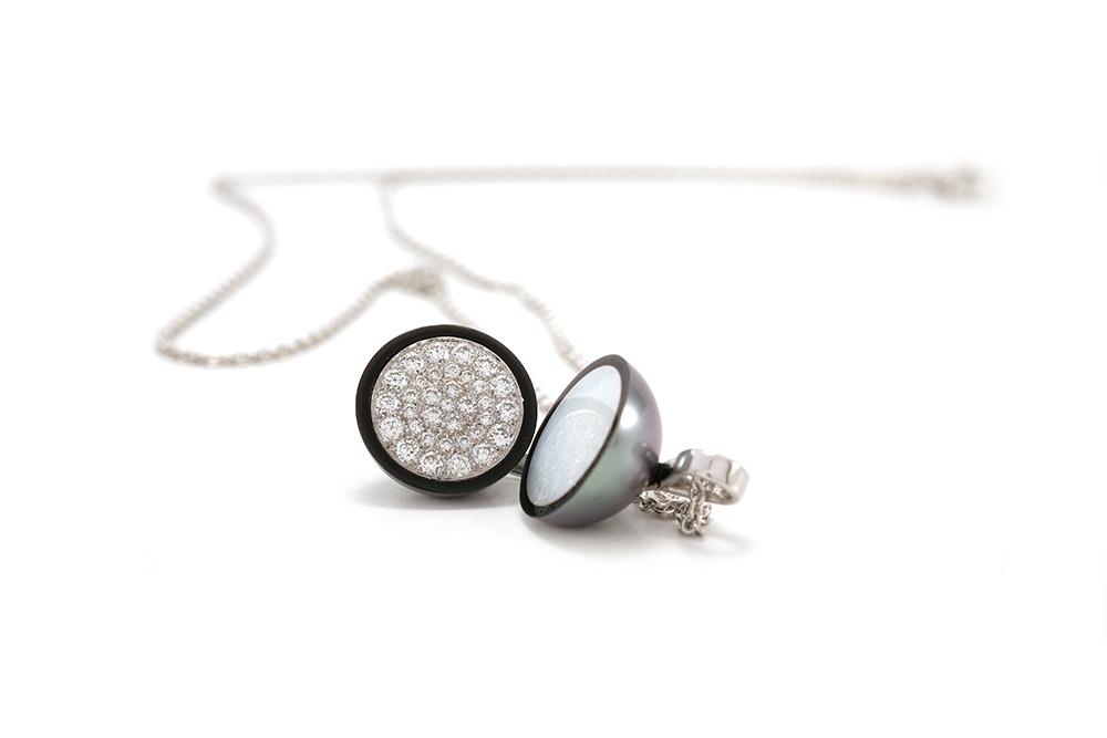 Pendentif Agora - Perle de Tahiti et Diamants sur Or blanc 6