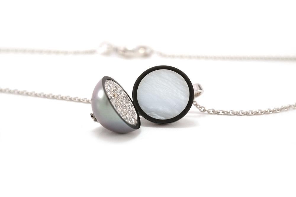 Pendentif Agora - Perle de Tahiti et Diamants sur Or blanc 7