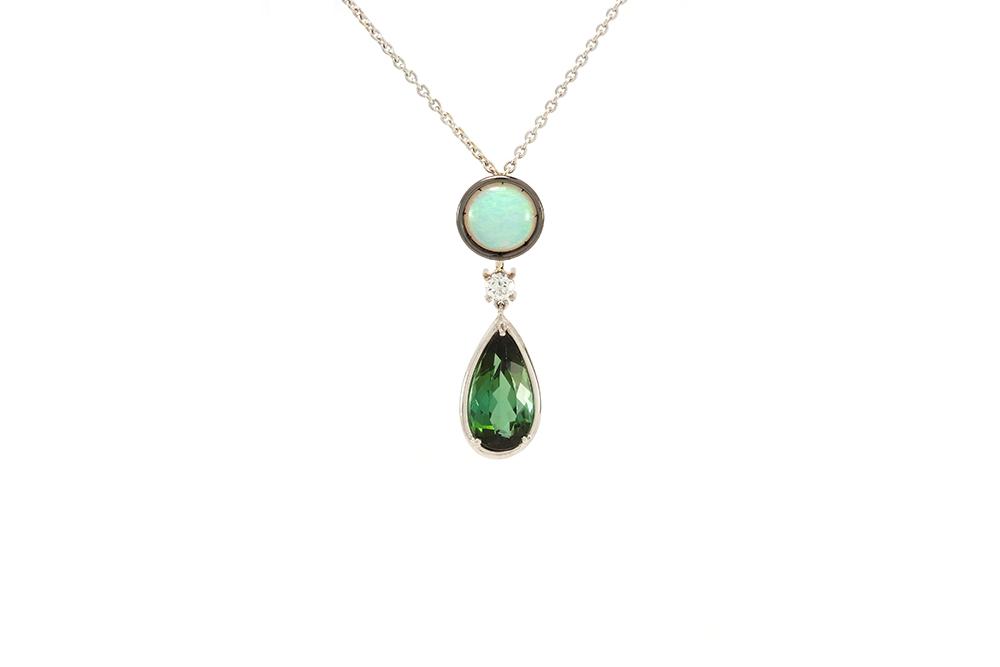 Pendentif Larme Australe - Opale, Tourmaline et Diamants sur Or Blanc 1