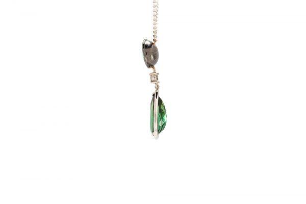 Pendentif Larme Australe - Opale, Tourmaline et Diamants sur Or Blanc 2