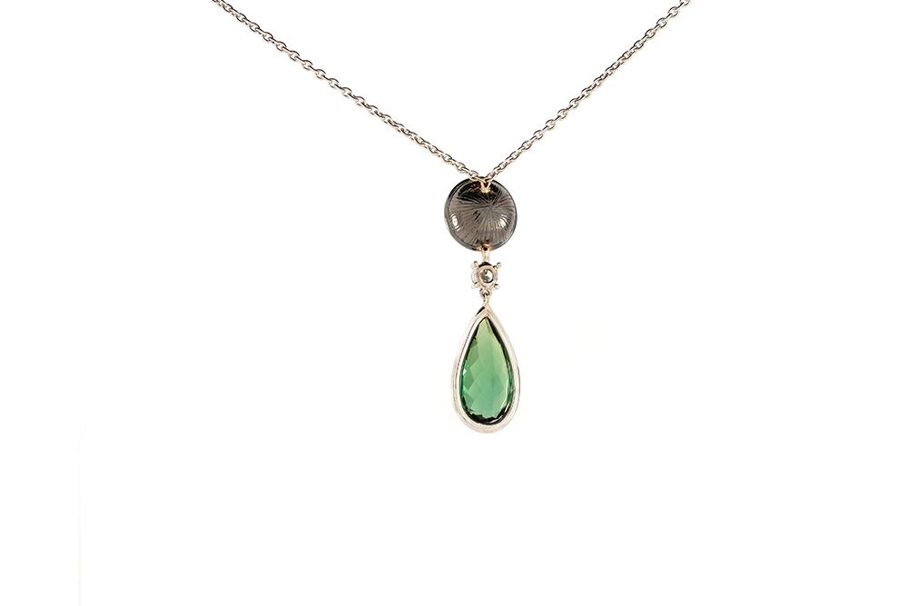 Pendentif Larme Australe - Opale, Tourmaline et Diamants sur Or Blanc 3