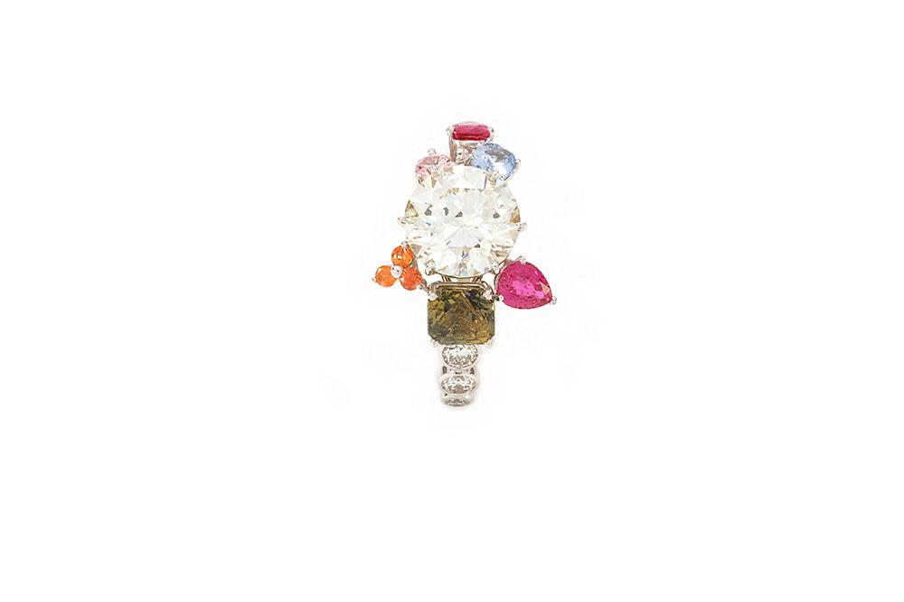 Bague Automne - Or blanc saphir et rubis 5