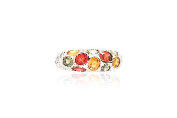 Bague Disco - or blanc, saphirs et diamants 1