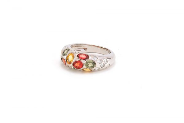 Bague Disco - or blanc, saphirs et diamants 2