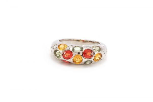 Bague Disco - or blanc, saphirs et diamants 3