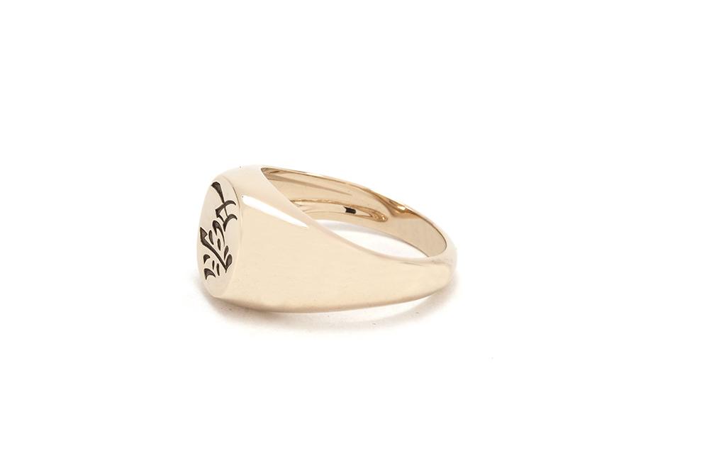 Chevalière Kanji - Or blanc et gravure 3