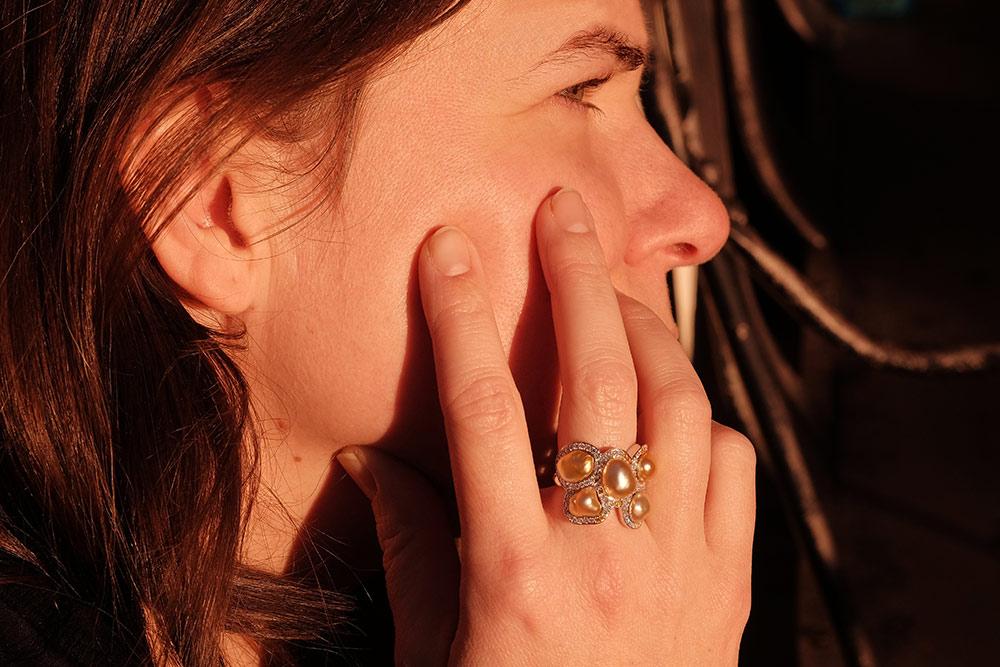 Bague Butterfly - Diamants, saphirs jaunes et Or Blanc 8
