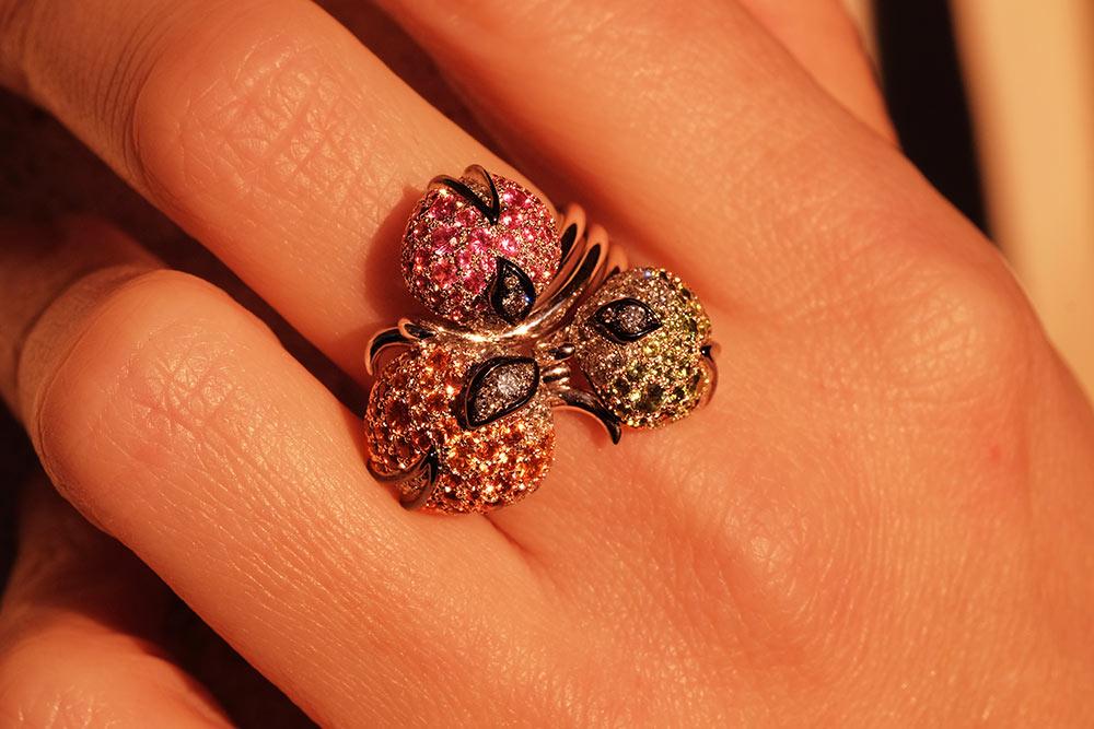 Bague Eclosion - pierres précieuses et Diamants - 10