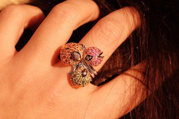 Bague Eclosion - pierres précieuses et Diamants - 9