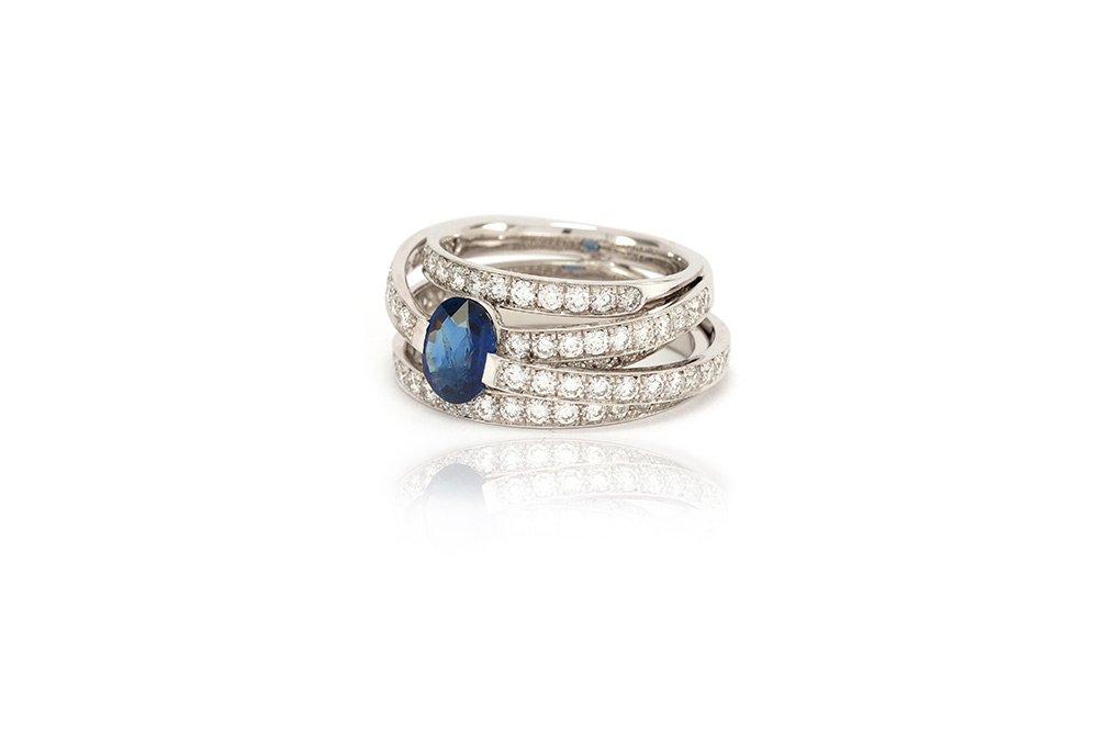 Bague Lien Saphir - Or Blanc, Saphir et diamants 1