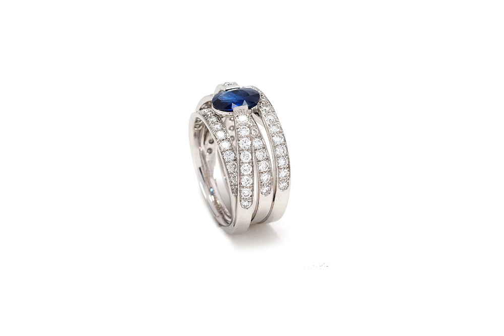 Bague Lien Saphir - Or Blanc, Saphir et diamants 2