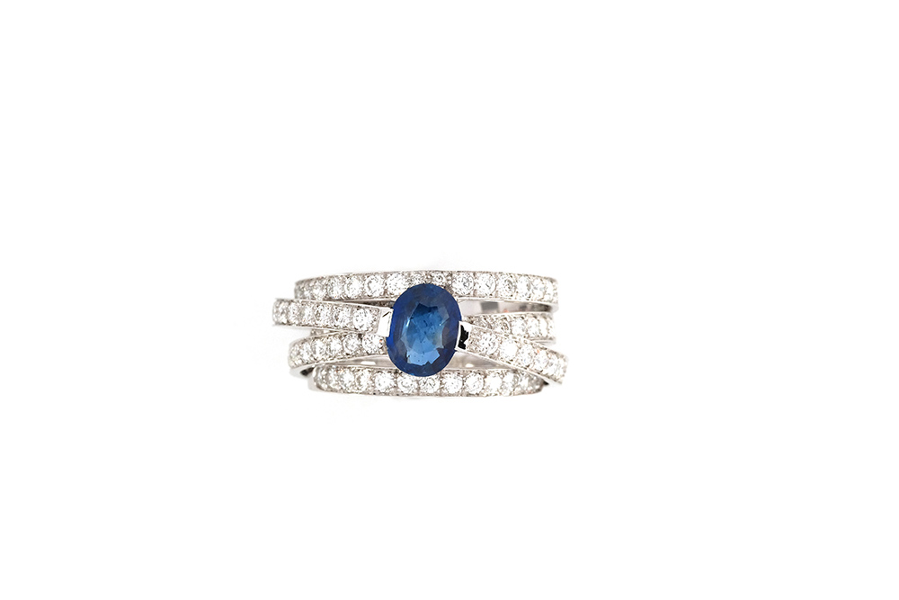 Bague Lien Saphir - Or Blanc, Saphir et diamants 3