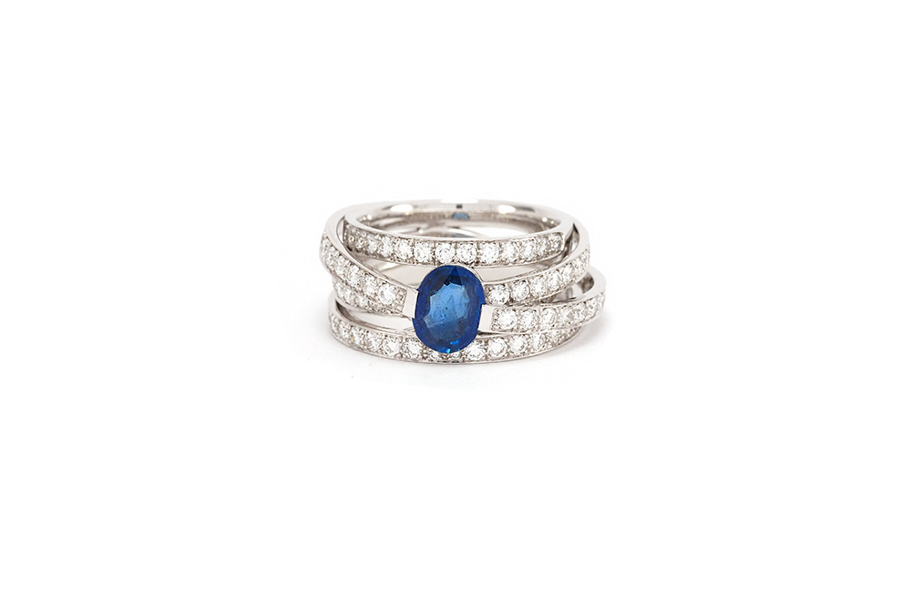 Bague Lien Saphir - Or Blanc, Saphir et diamants 4