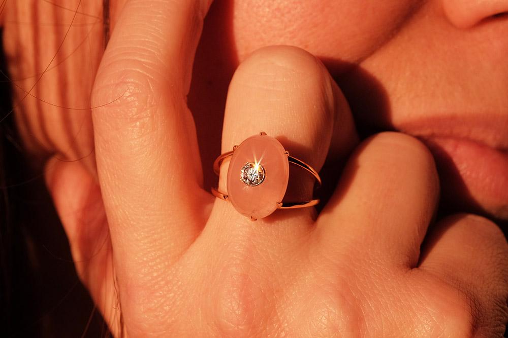Bague Lotus Rose - Quartz, or rouge et diamant 10