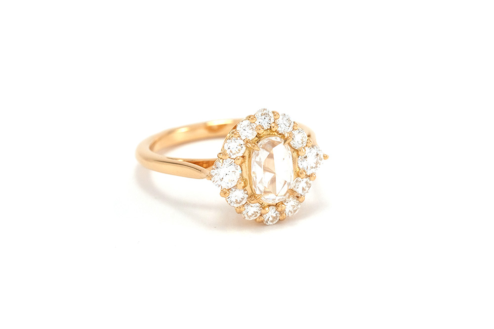 Bague Panier Rose Cut - Or jaune et Diamants 1