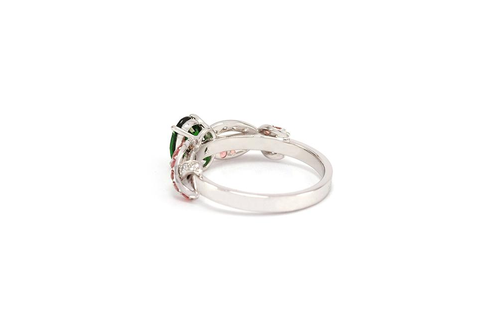 Solitaire Chlorophylle - Or blanc, Tsavorites, saphirs et diamants 4