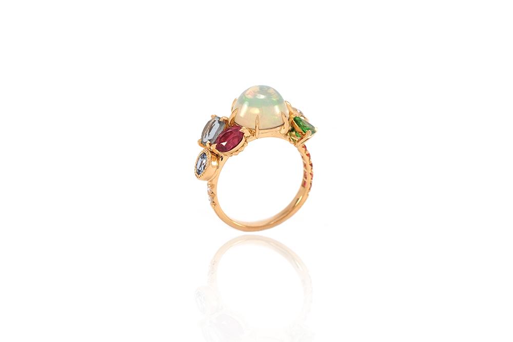Bague Tropiques - Or jaune, Opales et pierres précieuses 2