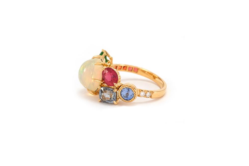 Bague Tropiques - Or jaune, Opales et pierres précieuses 4
