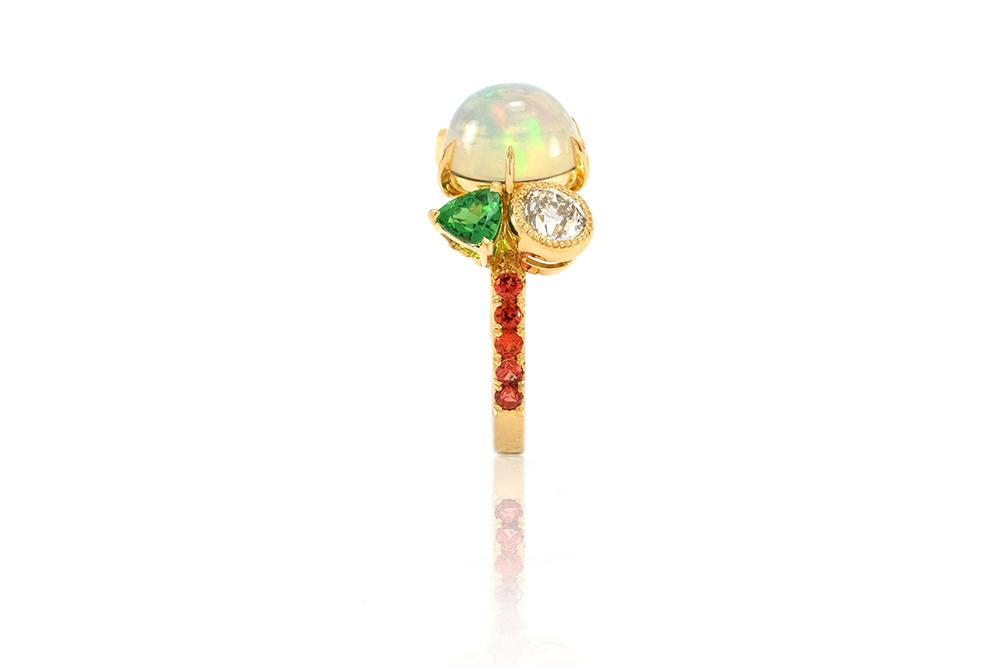 Bague Tropiques - Or jaune, Opales et pierres précieuses 6