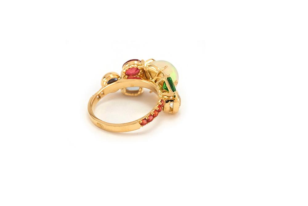 Bague Tropiques - Or jaune, Opales et pierres précieuses 7