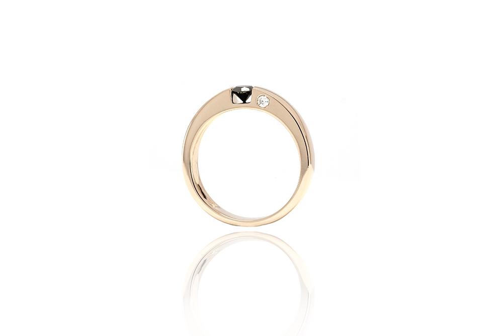 Solitaire Epuré Black - Or blanc et Diamant noir 1