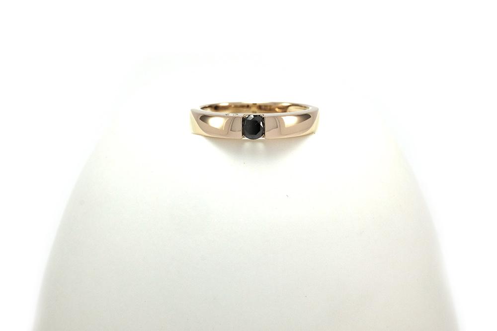 Solitaire Epuré Black - Or blanc et Diamant noir 2