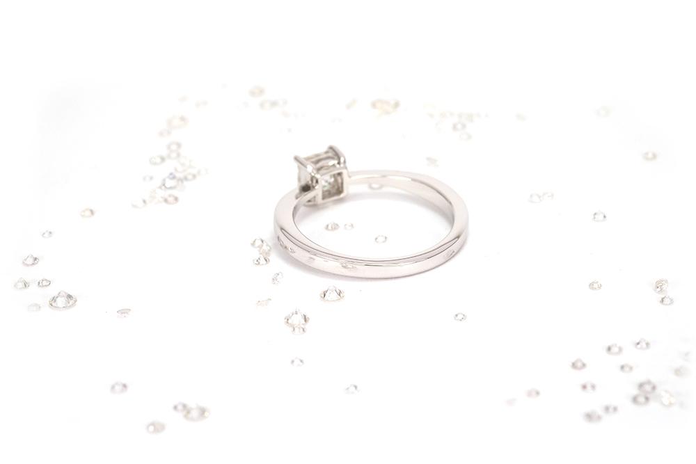 Solitaire Princesse - Or Blanc et Diamant Princesse 4