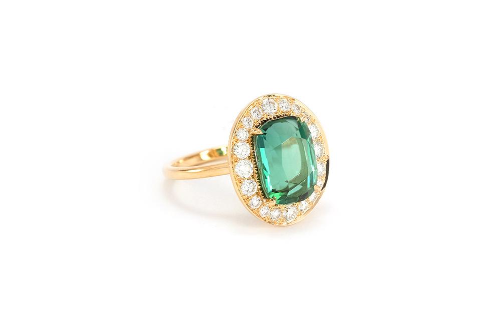 Bague Holy, or blanc, Tourmaline et diamants 2