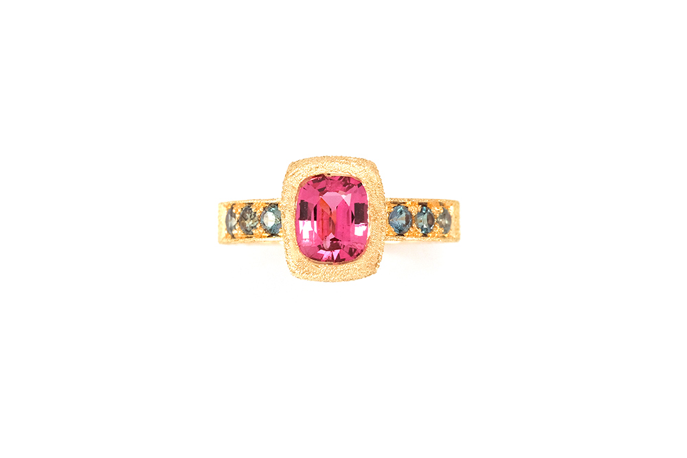 Bague Pink Perfume, Or, Spinelle et Alexandrites 7