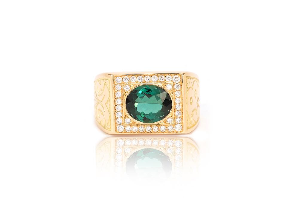 Chevalière Big Boy, or, diamants et tourmaline 2