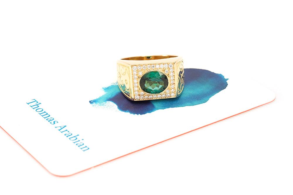 Chevalière Big Boy, or, diamants et tourmaline 3