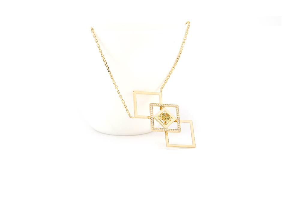Pendentif Family, or jaune diamants et démentoide 2