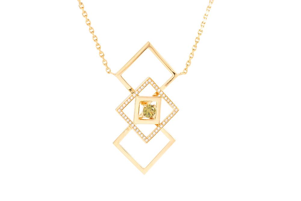 pendentif family, or jaune grenat et diamants 1