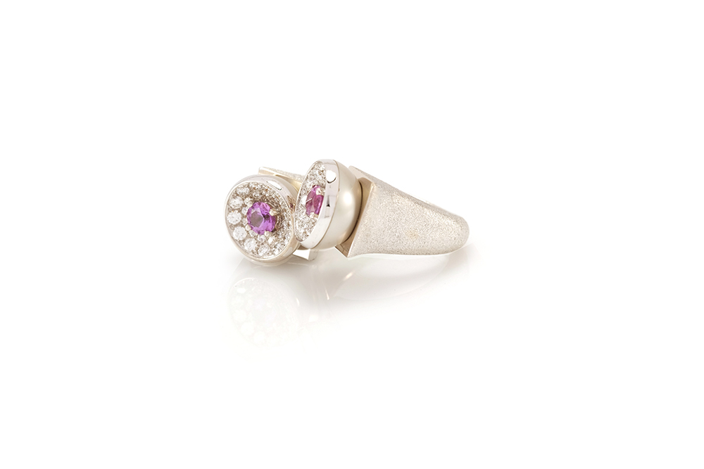 Bague Taj Mahal, Or, perle, diamants et saphirs 2