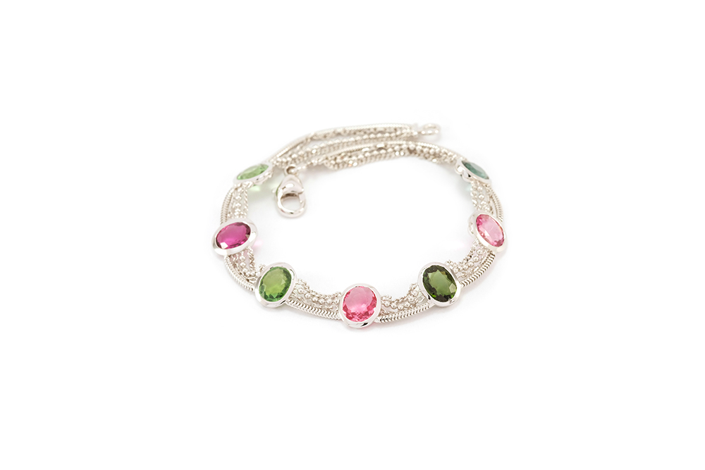 Bracelet Jaipur, Or et Tourmalines 5